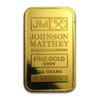 JOHNSON MATTHEY 100 GRAM GOLD BAR