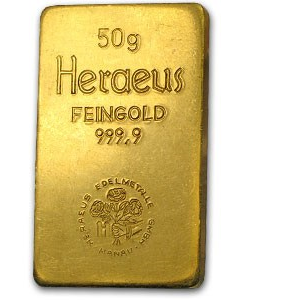 Buy 50 gram Heraeus Gold Bar from Lakeshore Trading