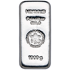 Buy 1 Kilo Heraeus Silver Bar from Lakeshore Trading
