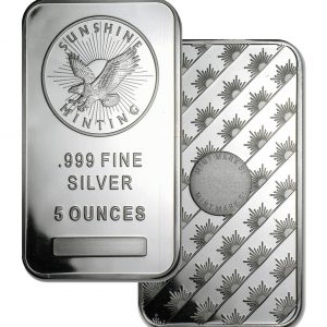 Buy 5 oz Sunshine Minting Inc. Silver Bar from Lakeshore Trading